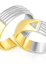 18 karaat wit en geel goud trouwringen met mat en glazend afwerking met 0.06 ct diamant