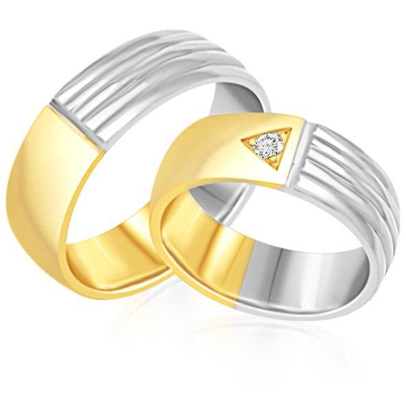 18 karat white and yellow gold wedding rings with matt and shiny finish with 0.06 ct diamond