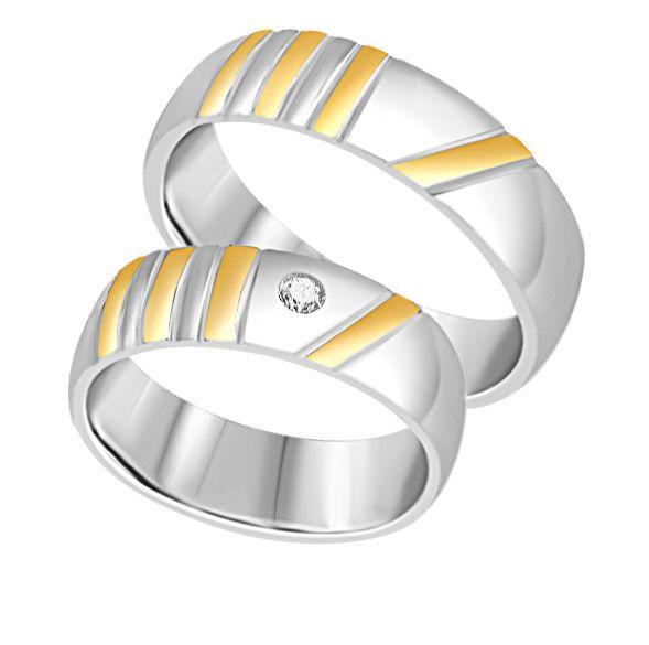 18 karaat wit en geel goud trouwringen met mat en glazend afwerking met 0.05 ct diamant