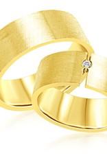 18 karaat geel goud trouwringen met mat afwerking met 0.03 ct diamant