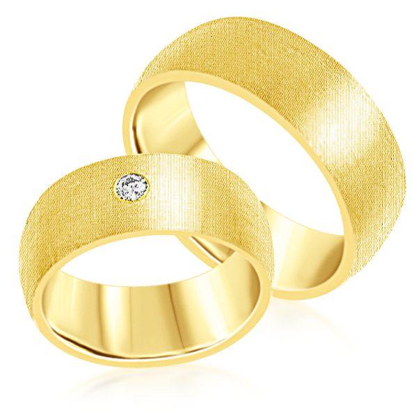 18 karat yellow gold wedding rings with matt finish with 0.08 ct diamond