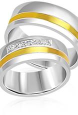 18 karaat wit en geel goud trouwringen met mat en glazend afwerking met 0.12 ct diamanten