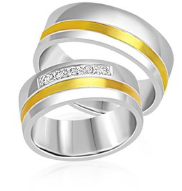 18 karat white and yellow gold wedding rings with matt and shiny finish with 0.12 ct diamonds