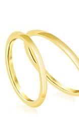 18 karat yellow gold wedding rings with shiny finish