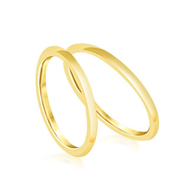 18 karaat geel goud trouwringen met glanzend  afwerking