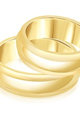 18 karaat geel goud trouwringen met mat en glanzend afwerking , ringen in beweging