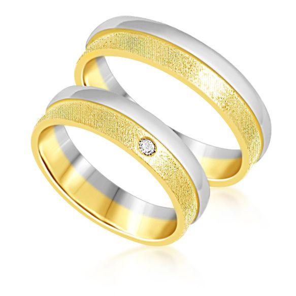 18 karaat wit en geel goud trouwringen met mat en glanzend afwerking met 0.03 ct diamant