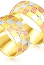 18 karaat wit en geel en roze goud trouwringen met mat en glanzend  afwerking