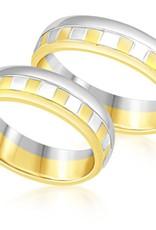 18 karat white and yellow gold wedding rings with matt and shiny finish
