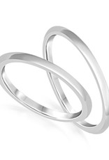 18 karat white gold wedding rings with shiny finish