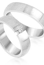 18 karaat wit goud trouwringen met mat afwerking met 0.05 ct diamant