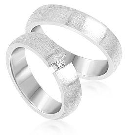 18 karat white gold wedding rings with matt finish with 0.05 ct diamond