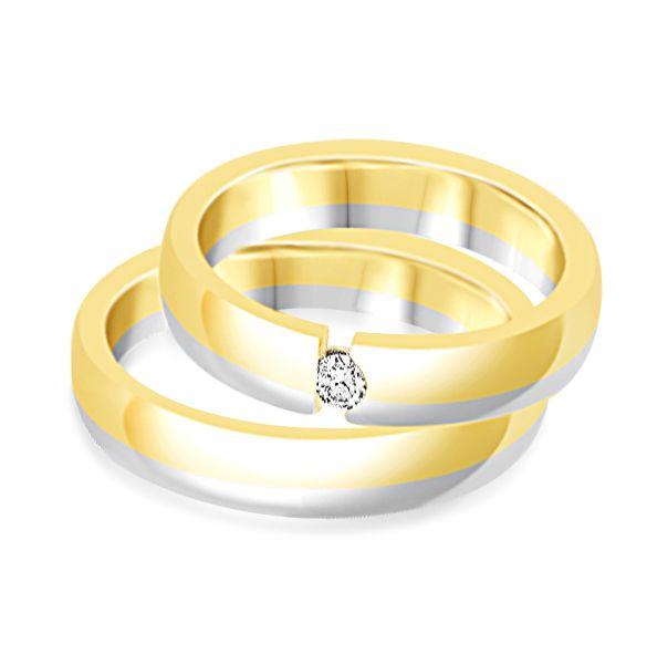 18 karaat wit en geel goud trouwringen met mat afwerking met 0.08 ct diamant