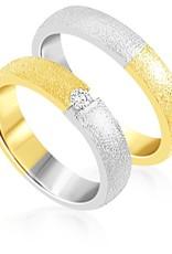 18 karat white and yellow gold wedding rings with matt finish with 0.08 ct diamond