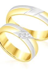 18 karaat wit en geel goud trouwringen met mat en glanzend afwerking met 0.04 ct diamanten