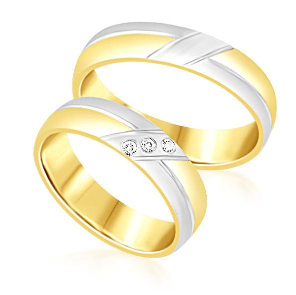 18 karat white and yellow gold wedding rings with matt and shiny finish with 0.04 ct diamonds