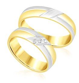 18 karat white and yellow gold wedding rings with matt and shiny finish with 0.04 ct diamonds