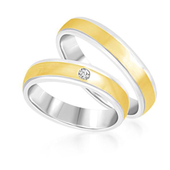 18kt wit en geel goud trouwringen met mat en glanzend afwerking met 0.03 ct diamant