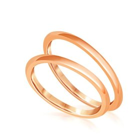 18 karat rose gold wedding rings with shiny finish