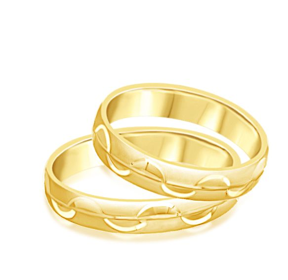 18 karat yellow gold wedding rings with matt and shiny finish