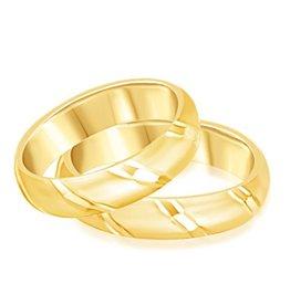 18 karaat geel goud trouwringen met mat en glanzend  afwerking