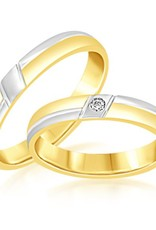 18kt wit en geel goud trouwringen met mat en glanzend afwerking met 0.02 ct diamant