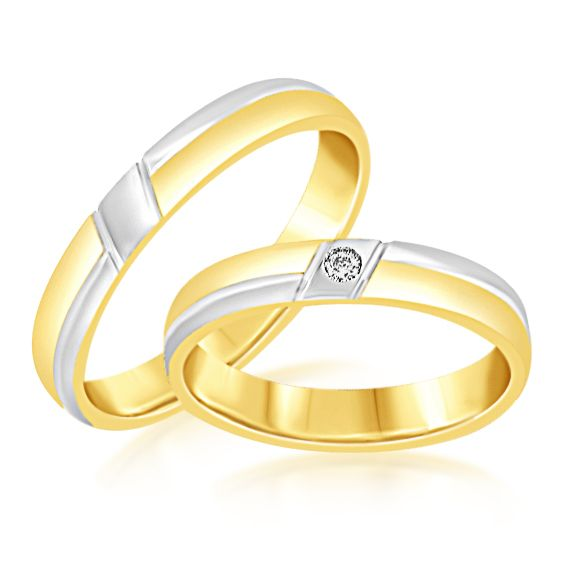 18 karaat wit en geel goud trouwringen met mat en glanzend afwerking met 0.02 ct diamant