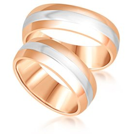 18 karat white and rose gold wedding rings with matt and shiny finish