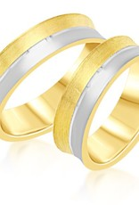 18 karat yellow & white gold wedding rings with matt and shiny finish