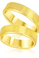 18 karat yellow gold wedding rings with matt finish