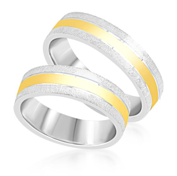 18 karat white & yellow gold wedding rings with matt and shiny finish