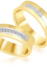 18 karaat wit en geel goud trouwringen met mat en glanzend afwerking met 0.09 ct diamanten