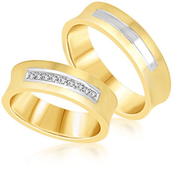 18 karaat geel & wit goud trouwringen met mat en glanzend afwerking met 0.09 ct diamanten