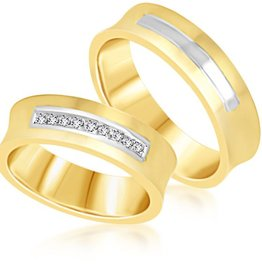 18 karat yellow & white gold wedding rings with matt and shiny finish with 0.09 ct diamonds