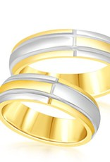 18 karat yellow & white gold wedding rings with matt and shiny finish