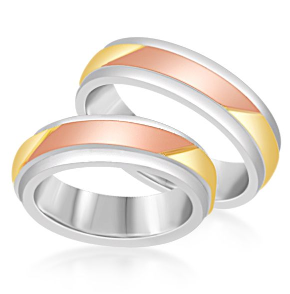 18 karat white and yellow and rose gold wedding rings with matt and shiny finish    - Copy