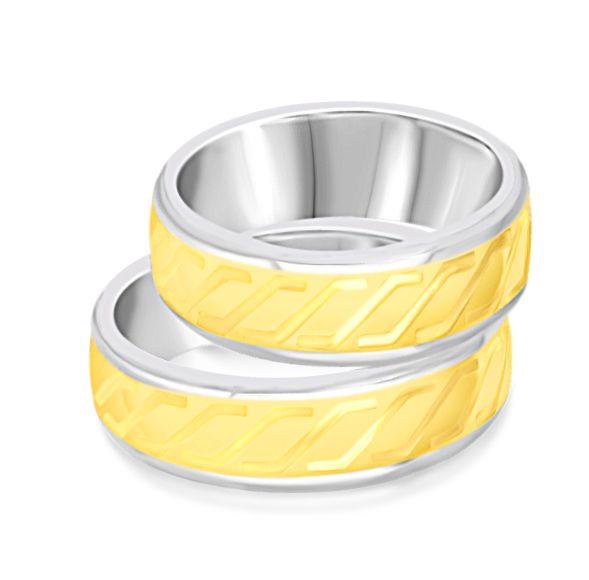 18 karaat geel & wit goud trouwringen met mat en glanzend  afwerking