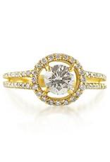 HRD 18 karaat geel goud verlovingsring met 0.68 ct +0.64 ct diamanten
