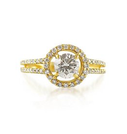 18 karat yellow gold engagement ring with 0.68 ct + 0.64 ct diamonds