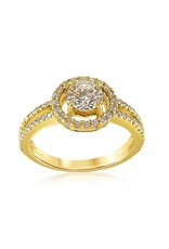 18kt yellow gold engagement ring with 1.32 ct diamonds