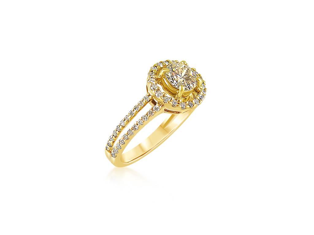 18 karaat geel goud verlovingsring met 0.68 ct +0.64 ct diamanten