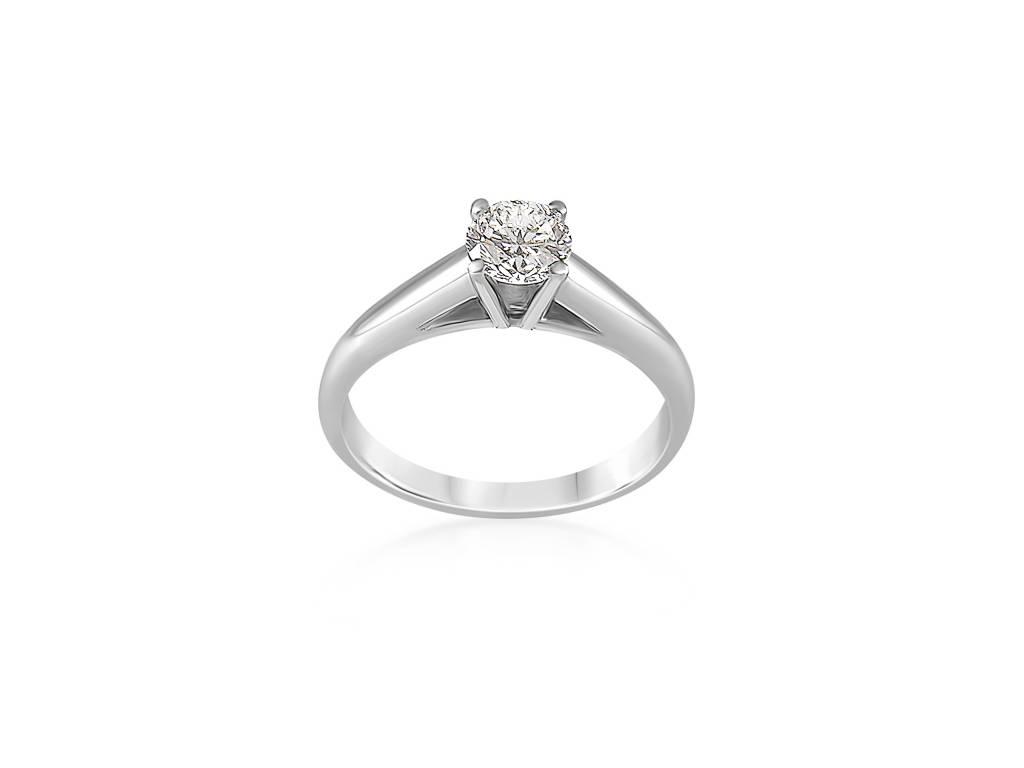 HRD 18 karaat wit goud verlovingsring met 0.59 ct diamant