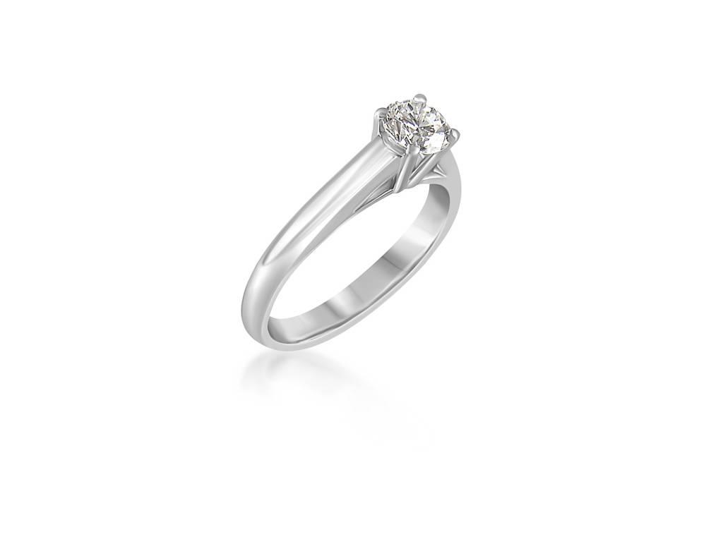 18 karat white gold engagement ring with 0.59 ct diamond