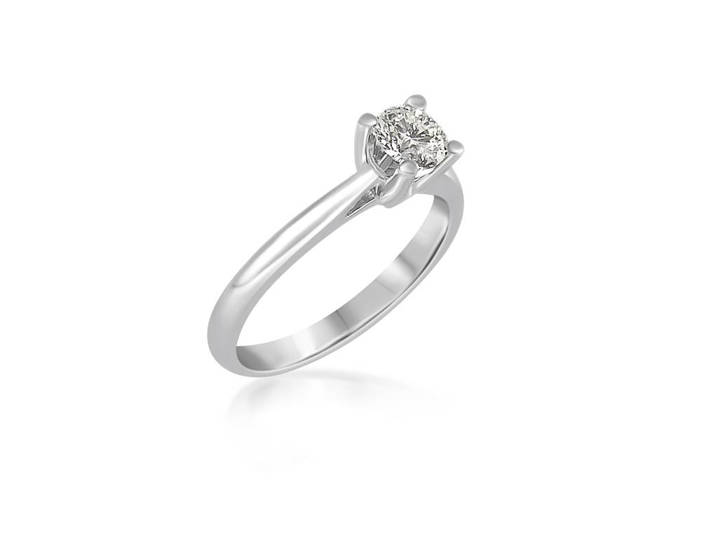 18 karat white gold engagement ring with 0.51 ct diamond