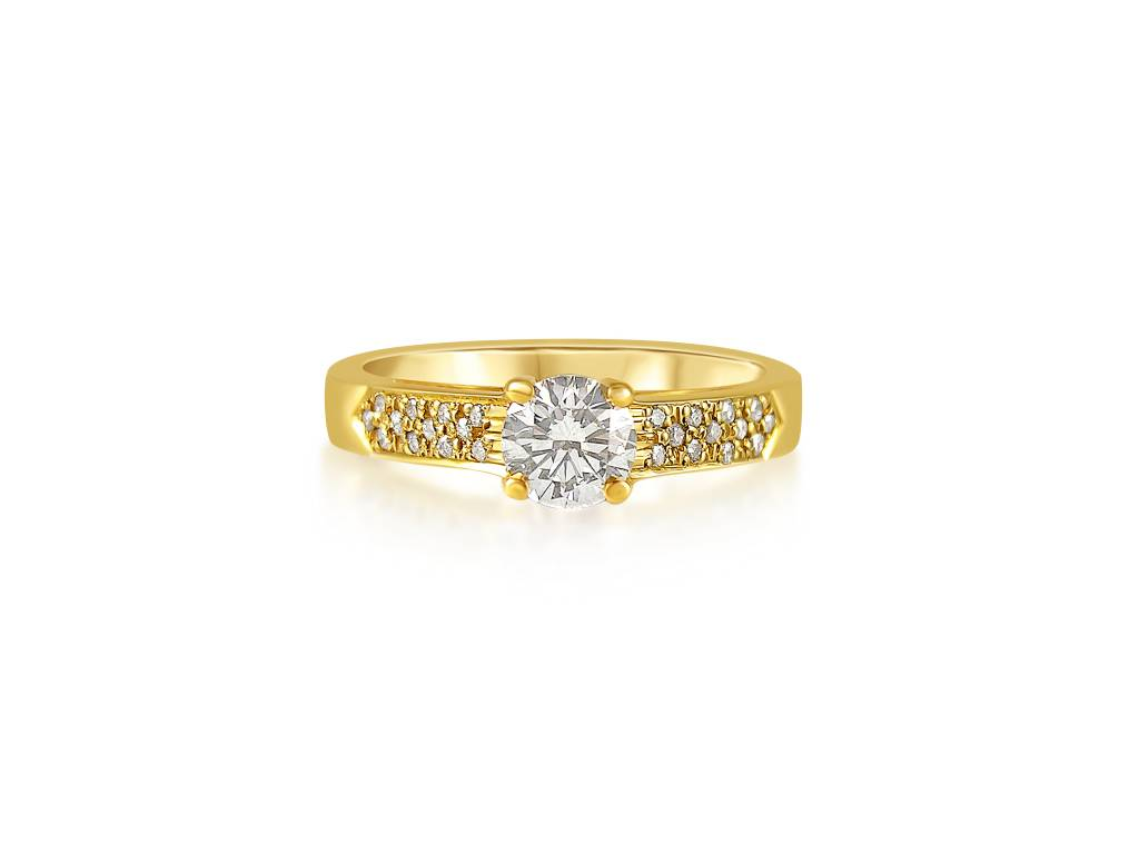 18 karaat geel goud verlovingsring met 0.56 ct +0.08 ct diamanten