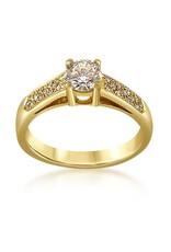 18 karat yellow gold engagement ring with 0.56 ct + 0.08 ct diamonds