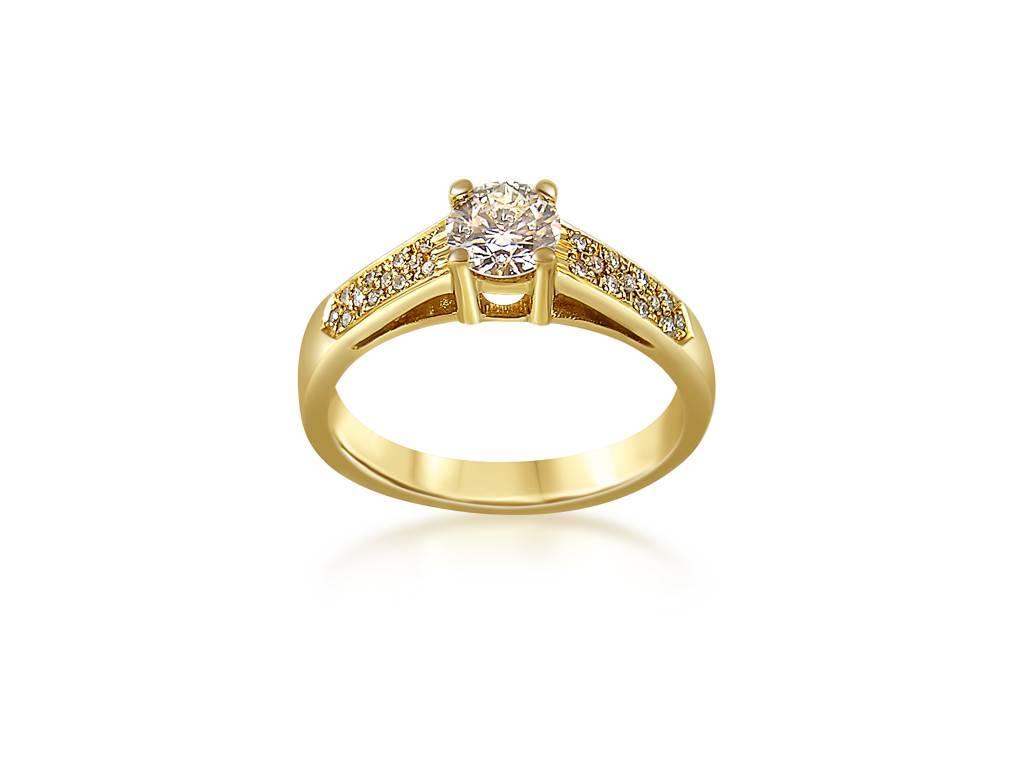 18k geel goud verlovingsring met 0.64 ct diamanten