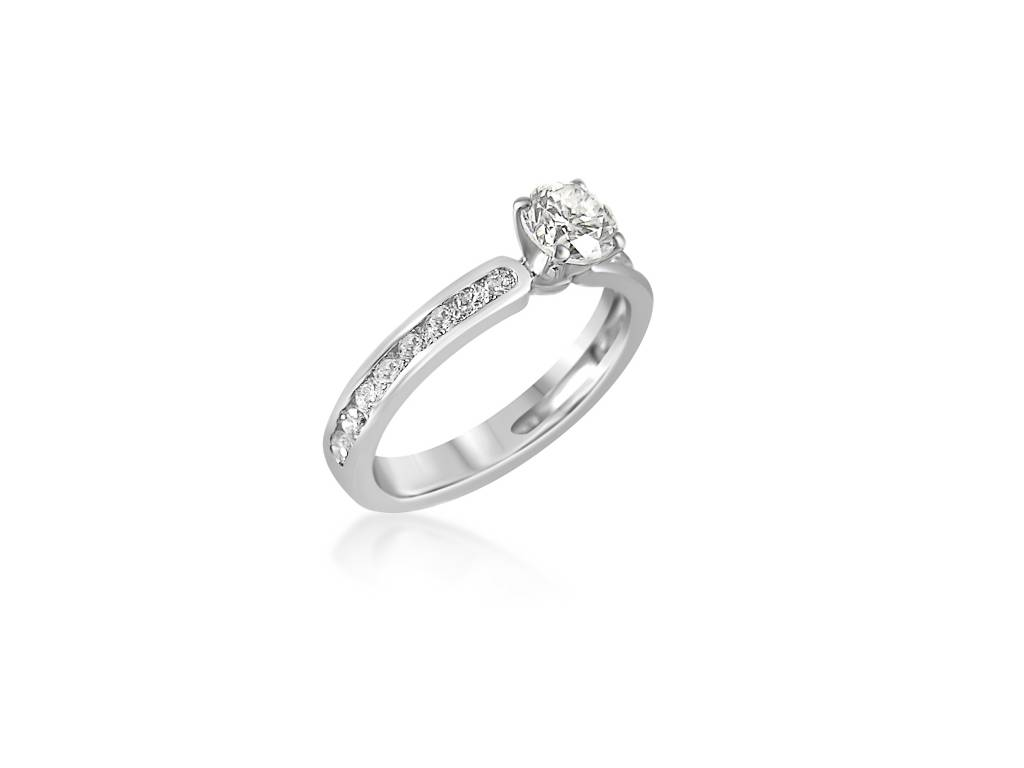 HRD 18 karaat wit goud verlovingsring met 0.70 ct +0.54 ct diamanten
