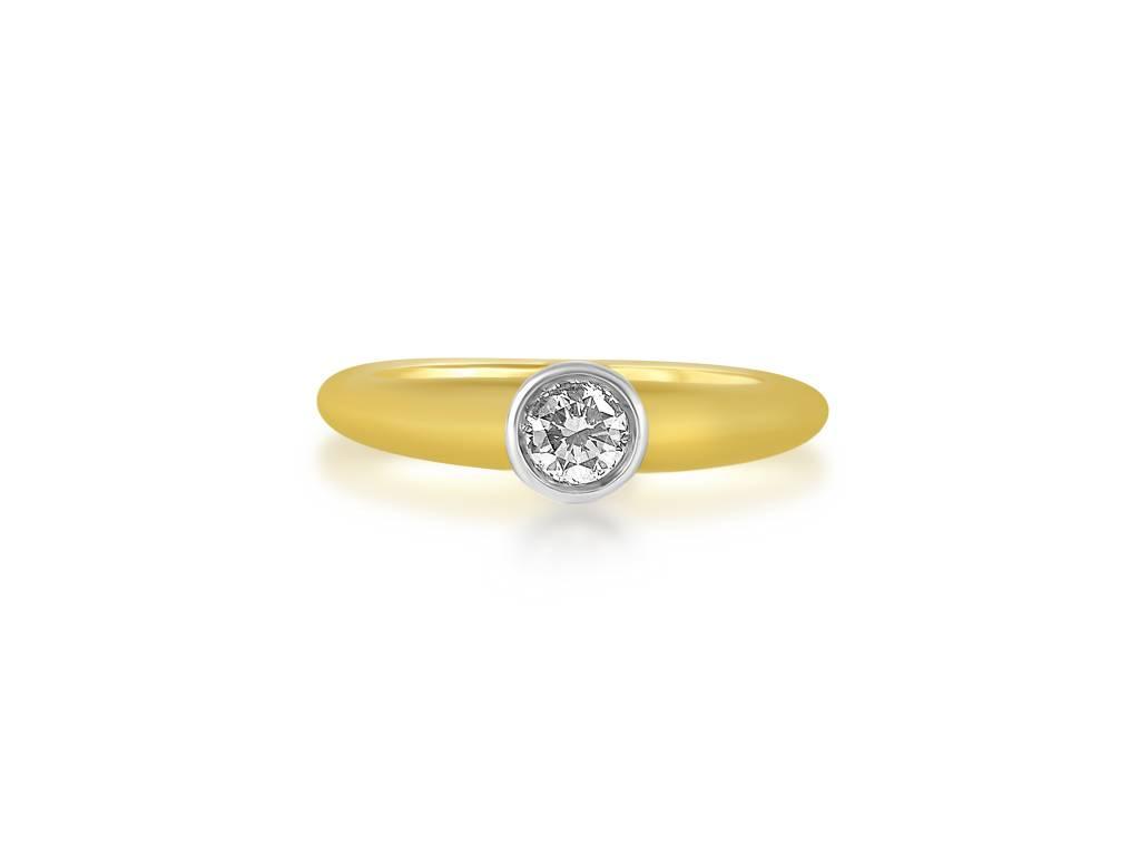 18 karaat geel goud verlovingsring met 0.25 ct diamant