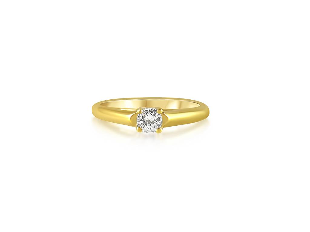 18 karat yellow gold engagement ring with 0.25 ct diamond